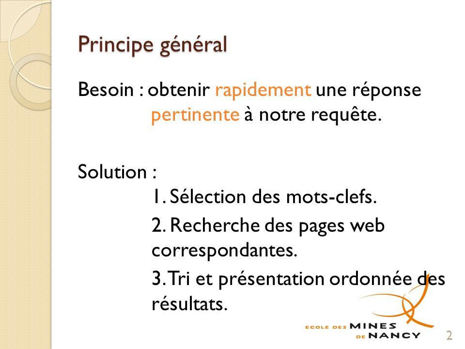 Principe général Besoin : obtenir rapidement une réponse pertinente à notre requête.