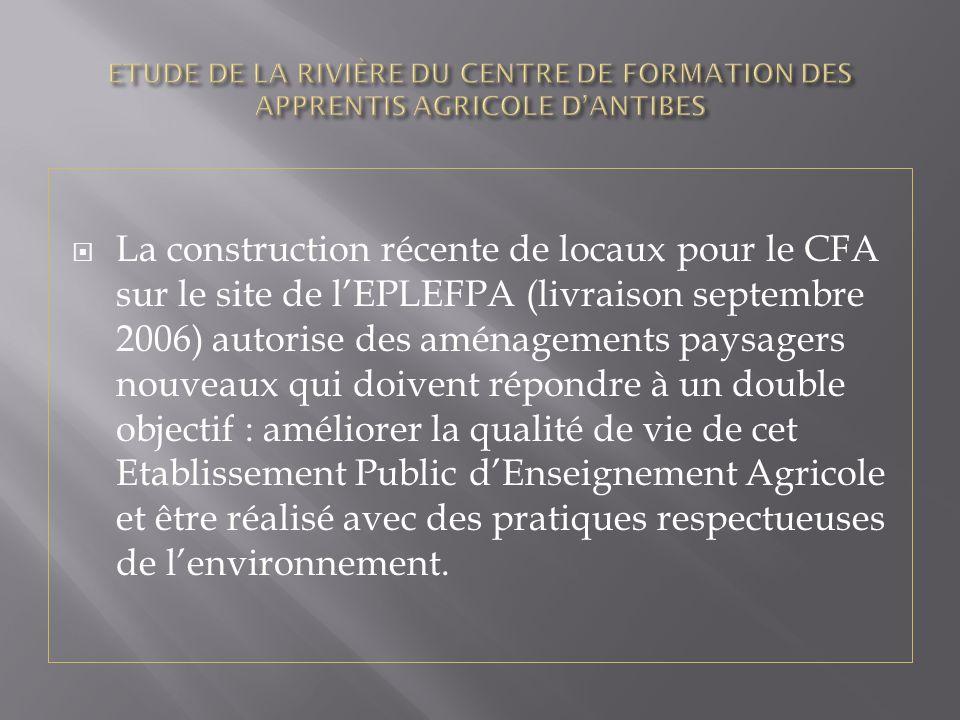 La construction récente de locaux pour le CFA sur le site de lEPLEFPA (livraison septembre 2006) autorise des aménagements paysagers nouveaux qui doivent répondre à un double objectif : améliorer la qualité de vie de cet Etablissement Public dEnseignement Agricole et être réalisé avec des pratiques respectueuses de lenvironnement.