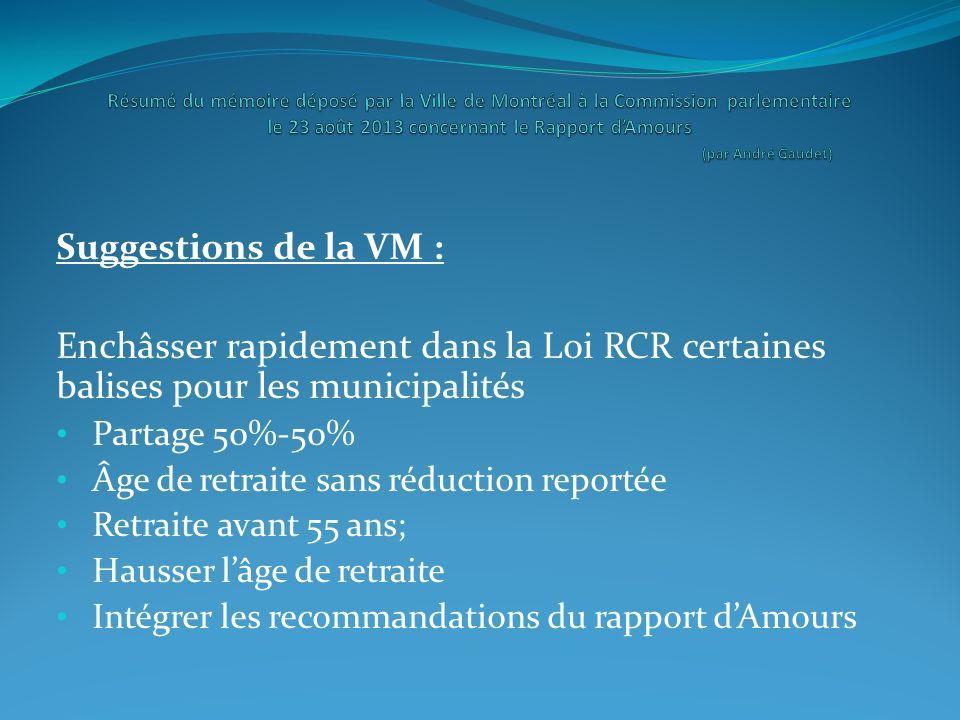 Suggestions de la VM : Enchâsser rapidement dans la Loi RCR certaines balises pour les municipalités Partage 50%-50% Âge de retraite sans réduction re