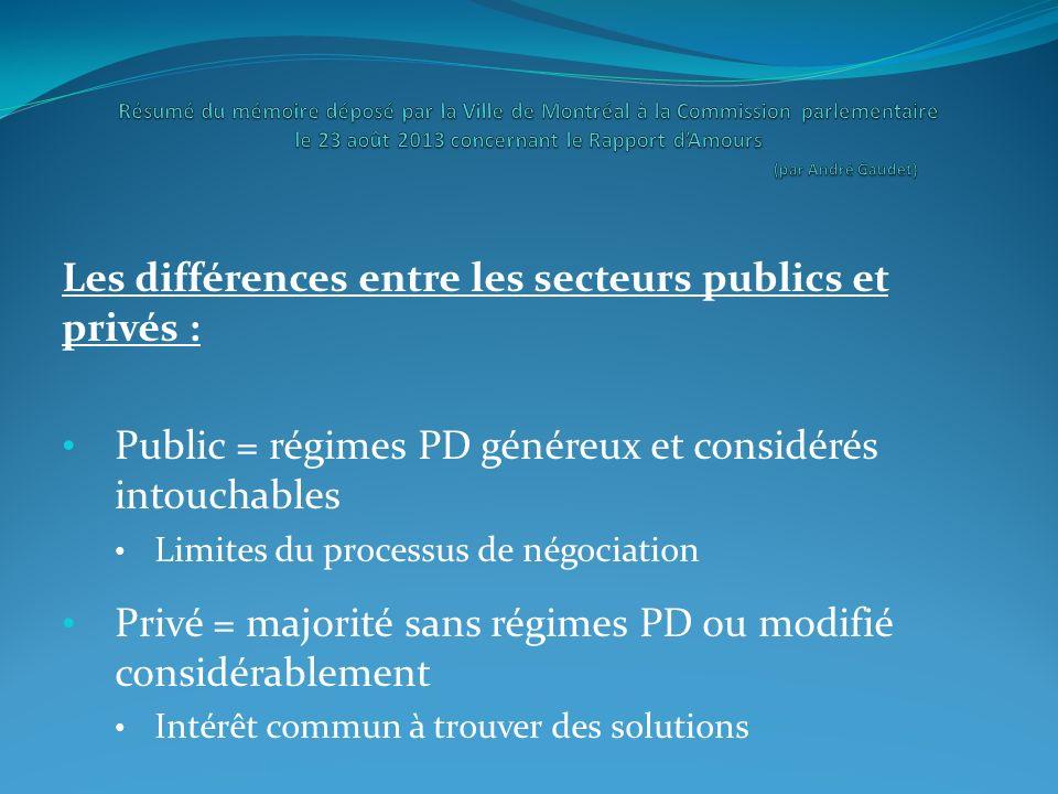 Les différences entre les secteurs publics et privés : Public = régimes PD généreux et considérés intouchables Limites du processus de négociation Pri