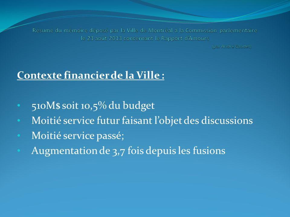 Contexte financier de la Ville : 510M$ soit 10,5% du budget Moitié service futur faisant lobjet des discussions Moitié service passé; Augmentation de