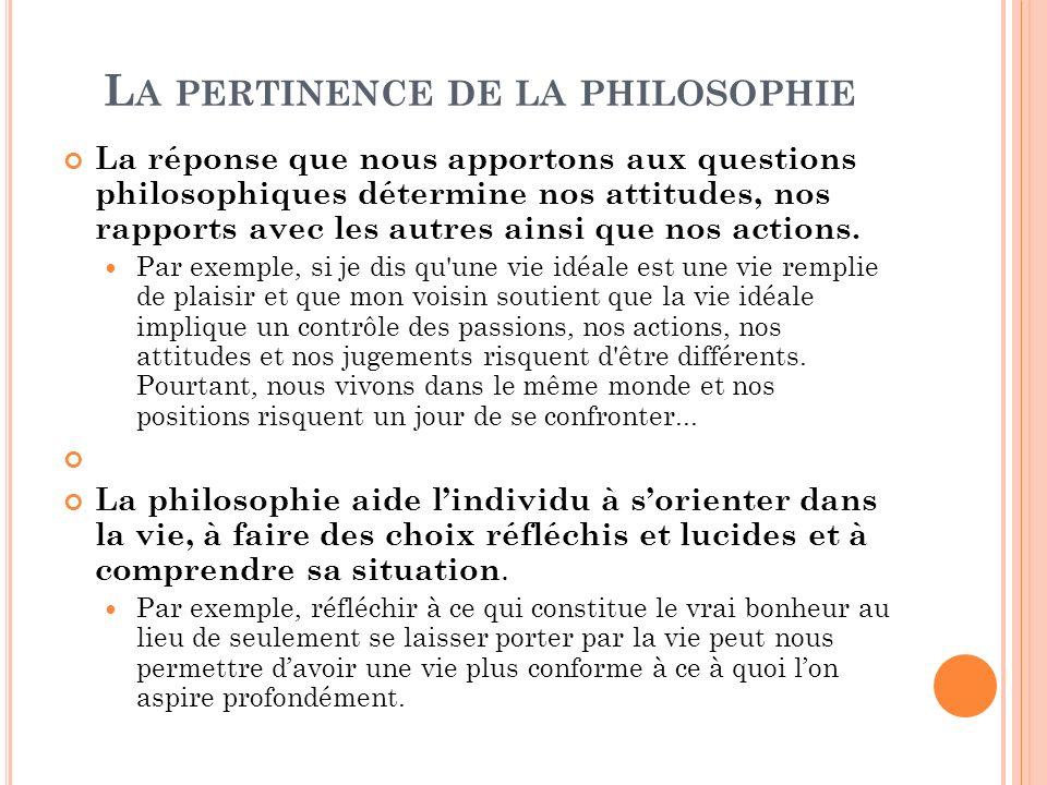 L A PERTINENCE DE LA PHILOSOPHIE La réponse que nous apportons aux questions philosophiques détermine nos attitudes, nos rapports avec les autres ains
