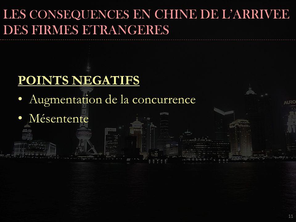 POINTS NEGATIFS Augmentation de la concurrence Mésentente 11 LES CONSEQUENCES EN CHINE DE LARRIVEE DES FIRMES ETRANGERES