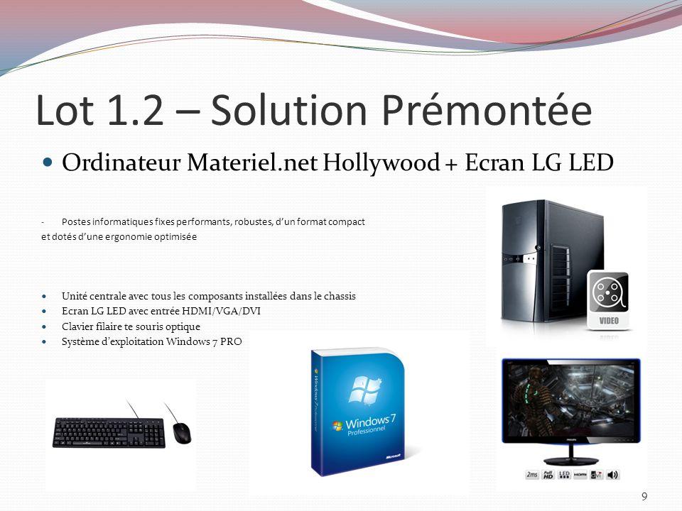 Lot 2.1 – Ordinateur Portable Ordinateur portable Sony Vaio SVS1511X9E/B - Allie portabilité et performances exceptionnelles Processeur : Processeur Intel® Core i7-3612QM (2,10 GHz) Avec 4 Cores et fréquence Turbo à 3.1 GHz Mémoire vive : 8192 Mo (8 Go) DDR3 1333 MHz, 2 emplacements Disque dur : 128Go SSD Écran : 15.5 Full HD 1080 (1920 x 1080) Bluetooth : Oui et Réseau sans fil : WiFi 802.11 n Ports et emplacements : USB (1 x 2.0 / 2 x 3.0) + HDMI + VGA Multimédia avec Webcam, lecteur biométrique et lecteur Graveur DVD±RW DL Poids : 1,9 Kg + Sacoche de transport anti-chocs, pouvant contenir le portable et lensemble de ses périphériques externes.
