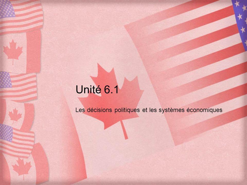 Unité 6.1 Les décisions politiques et les systèmes économiques