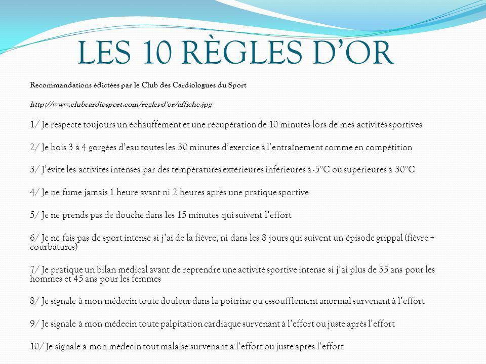 Recommandations édictées par le Club des Cardiologues du Sport http://www.clubcardiosport.com/regles-d'or/affiche.jpg 1/ Je respecte toujours un échau