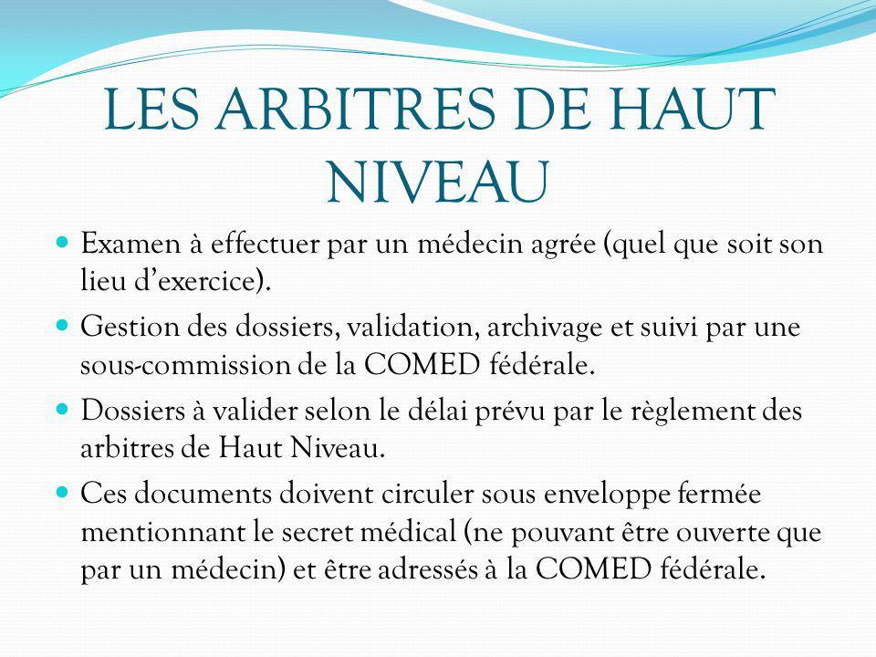 LES ARBITRES DE HAUT NIVEAU Examen à effectuer par un médecin agrée (quel que soit son lieu dexercice). Gestion des dossiers, validation, archivage et