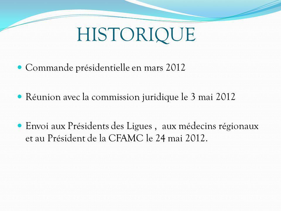 HISTORIQUE Commande présidentielle en mars 2012 Réunion avec la commission juridique le 3 mai 2012 Envoi aux Présidents des Ligues, aux médecins régio