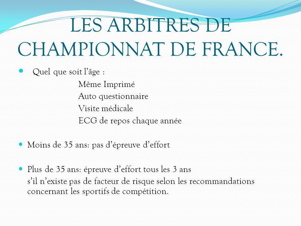 LES ARBITRES DE CHAMPIONNAT DE FRANCE. Quel que soit lâge : Même Imprimé Auto questionnaire Visite médicale ECG de repos chaque année Moins de 35 ans: