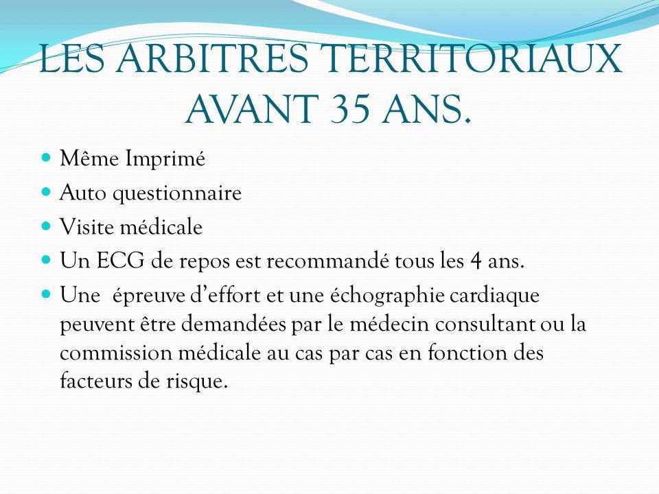 LES ARBITRES TERRITORIAUX AVANT 35 ANS. Même Imprimé Auto questionnaire Visite médicale Un ECG de repos est recommandé tous les 4 ans. Une épreuve def