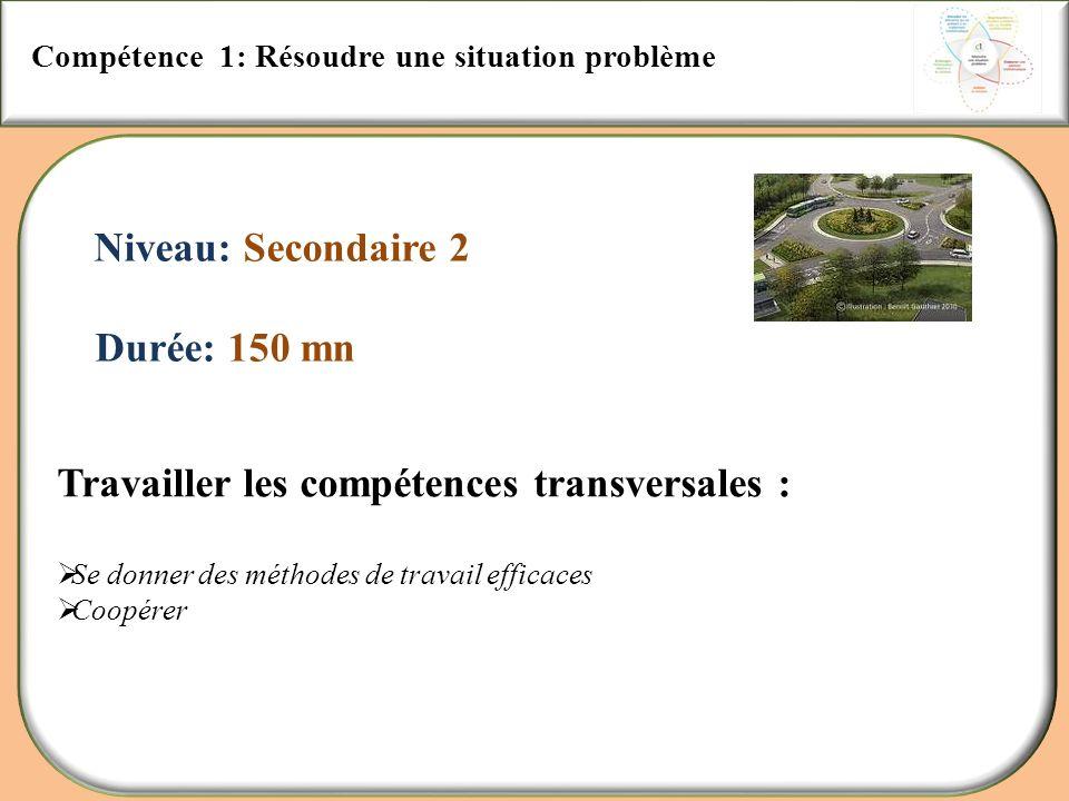 Compétence 1: Résoudre une situation problème Niveau: Secondaire 2 Durée: 150 mn Travailler les compétences transversales : Se donner des méthodes de