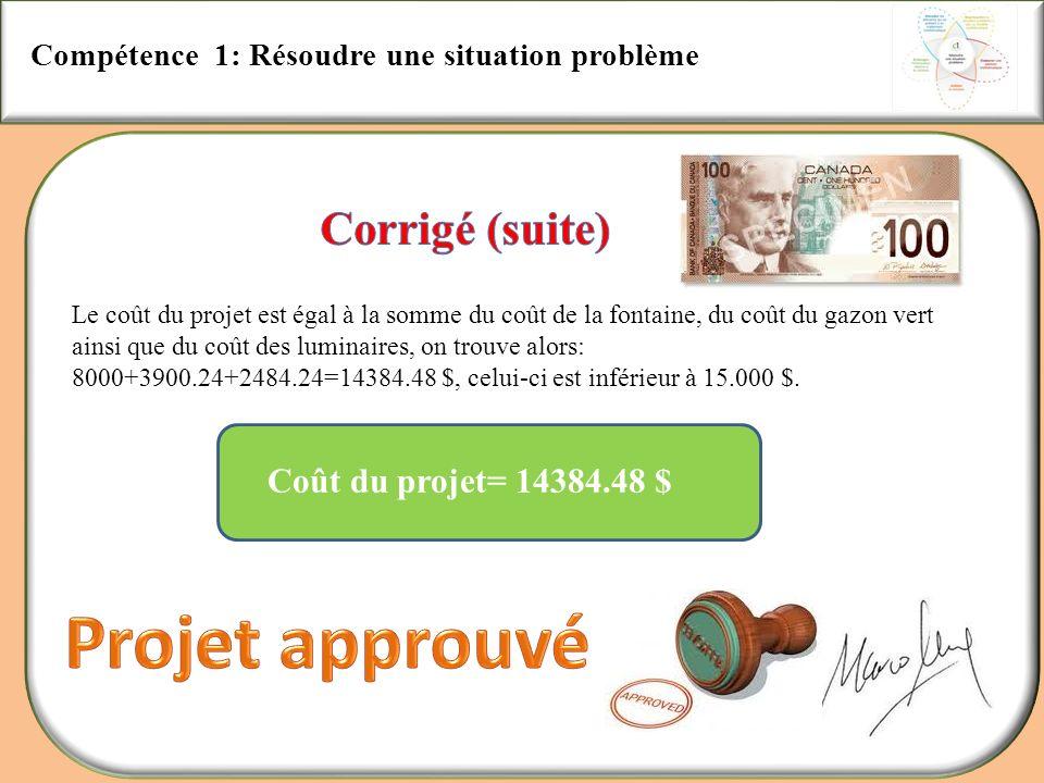 Compétence 1: Résoudre une situation problème Coût du projet= 14384.48 $ Le coût du projet est égal à la somme du coût de la fontaine, du coût du gazo