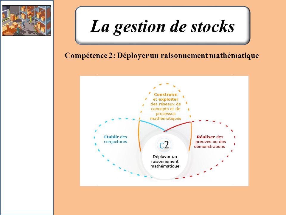 La gestion de stocks Compétence 2: Déployer un raisonnement mathématique