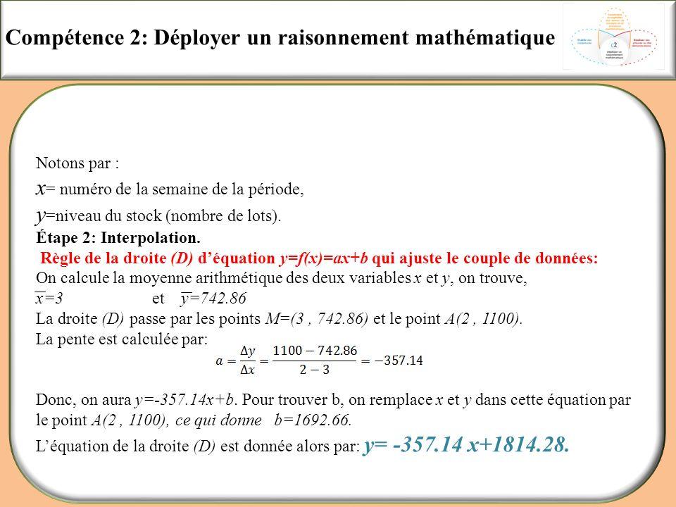 Compétence 2: Déployer un raisonnement mathématique Notons par : x = numéro de la semaine de la période, y =niveau du stock (nombre de lots). Étape 2:
