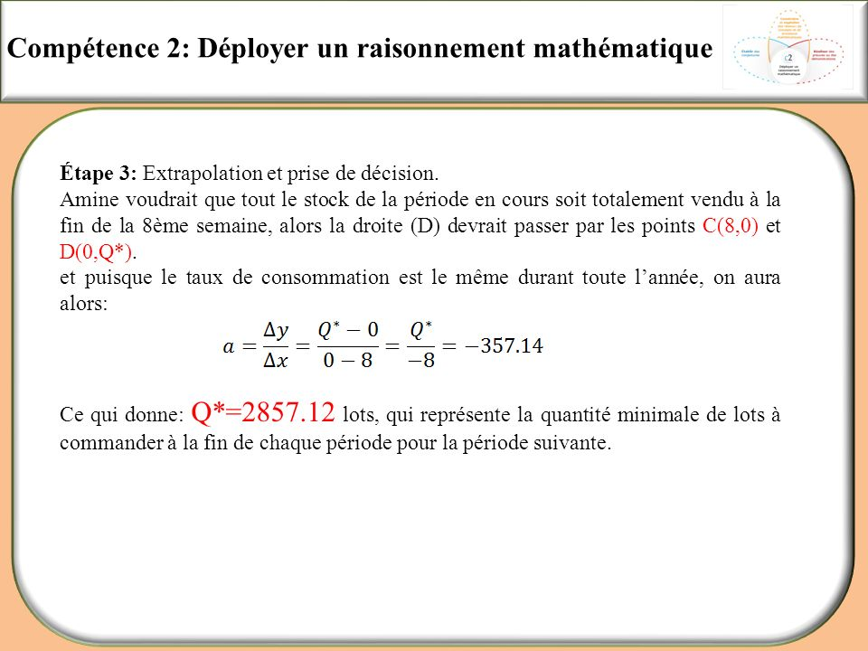 Compétence 2: Déployer un raisonnement mathématique Étape 3: Extrapolation et prise de décision. Amine voudrait que tout le stock de la période en cou