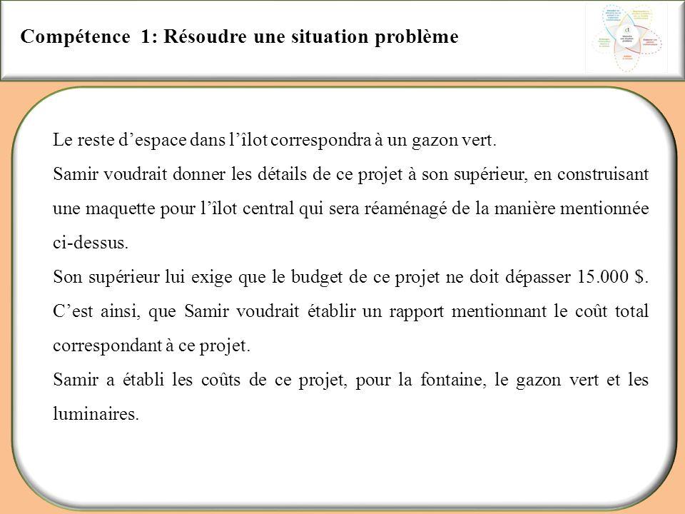 Compétence 1: Résoudre une situation problème Le reste despace dans lîlot correspondra à un gazon vert. Samir voudrait donner les détails de ce projet