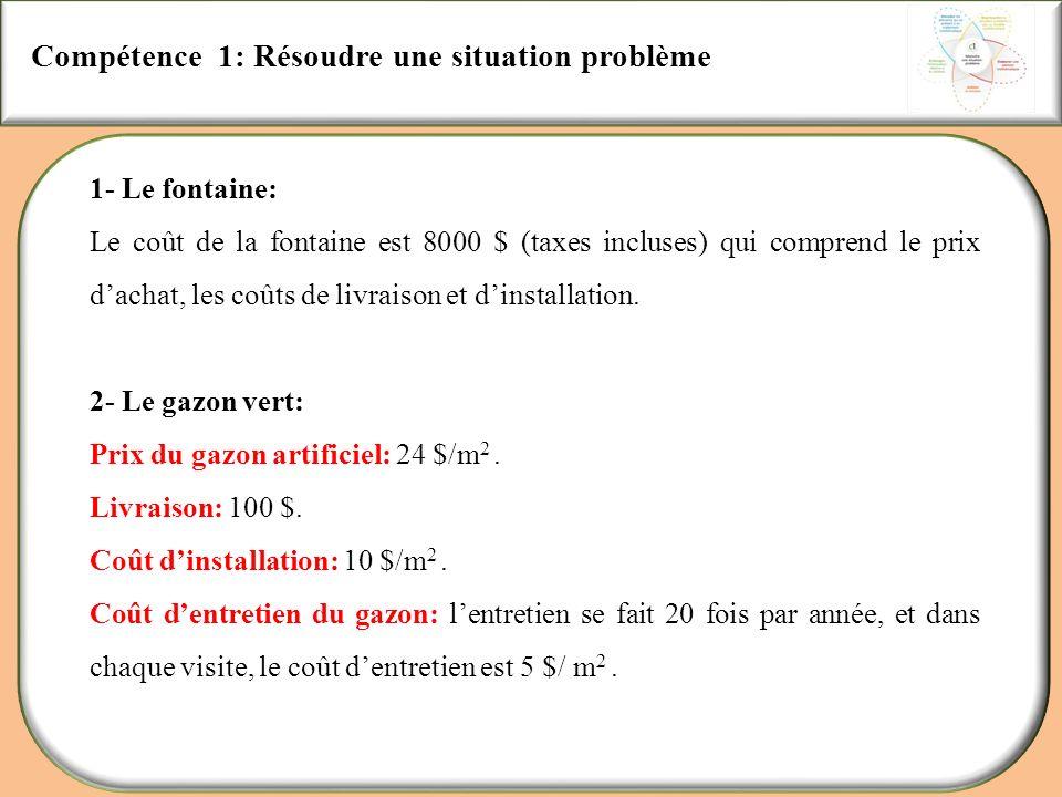 Compétence 1: Résoudre une situation problème 1- Le fontaine: Le coût de la fontaine est 8000 $ (taxes incluses) qui comprend le prix dachat, les coût