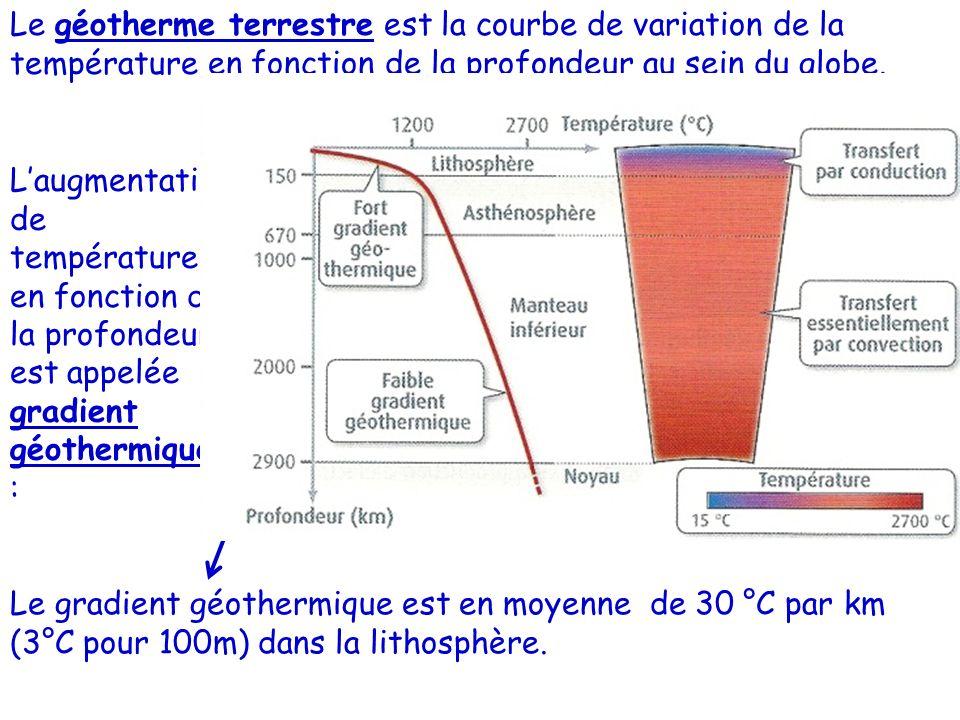 Le géotherme terrestre est la courbe de variation de la température en fonction de la profondeur au sein du globe. Laugmentation de température en fon