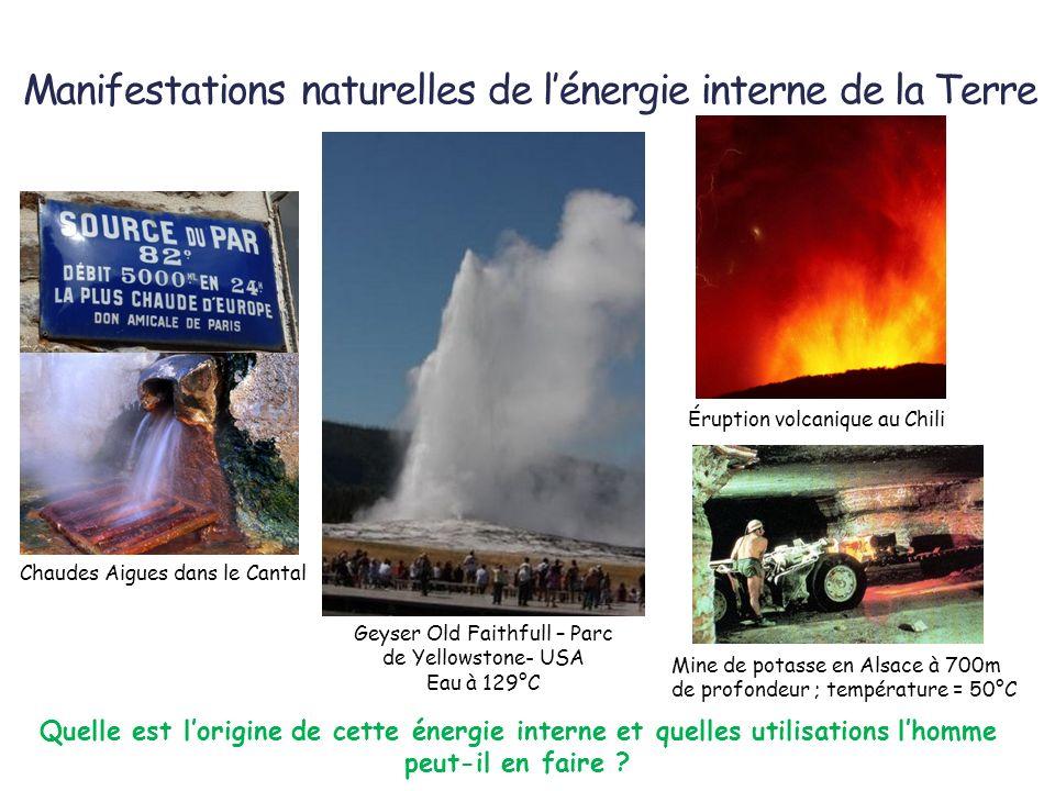 Manifestations naturelles de lénergie interne de la Terre Chaudes Aigues dans le Cantal Geyser Old Faithfull – Parc de Yellowstone- USA Eau à 129°C Mi