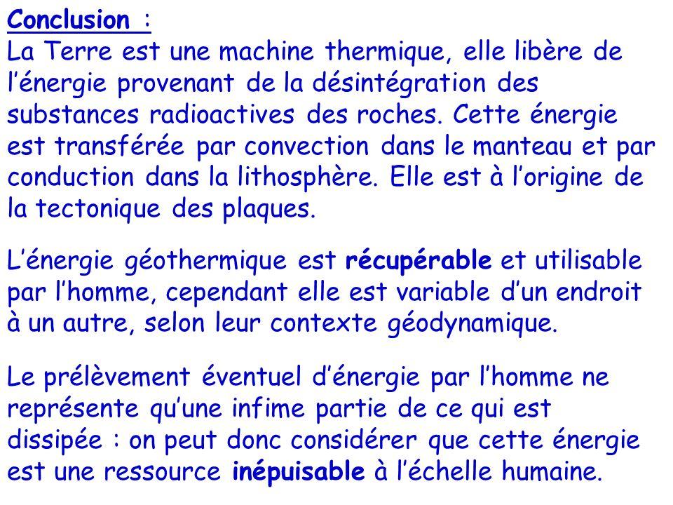 Conclusion : La Terre est une machine thermique, elle libère de lénergie provenant de la désintégration des substances radioactives des roches. Cette