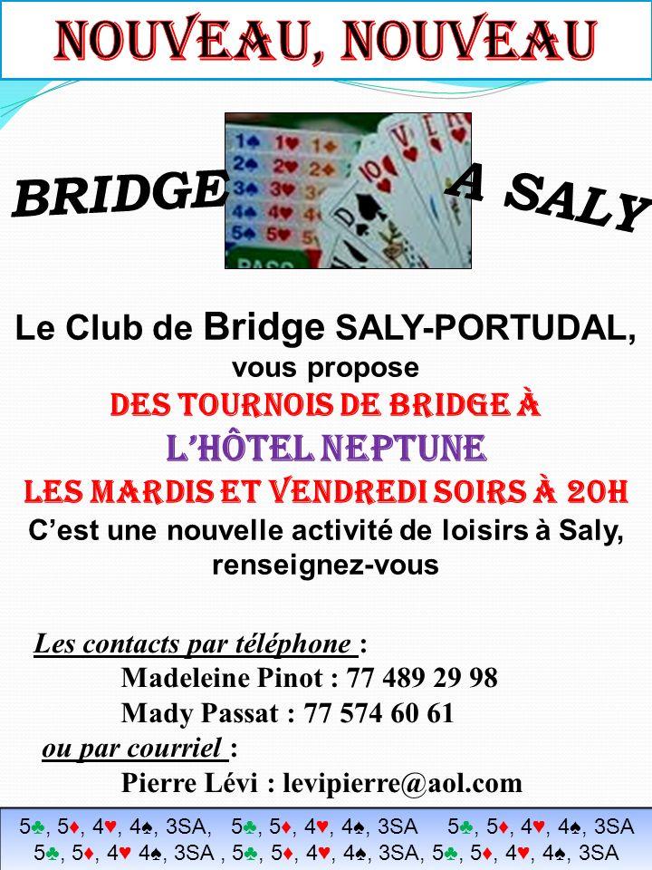 Le Club de Bridge SALY-PORTUDAL, vous propose des tournois de bridge 2 ou 3 fois par semaine Cest une nouvelle activité de loisirs à Saly, renseignez-vous Les contacts par téléphone : Madeleine Pinot : 77 489 29 98 Mady Passat : 77 574 60 61 ou par courriel : Pierre Lévi : levipierre@aol.com BRIDGE A SALY 5, 5, 4, 4, 3SA, 5, 5, 4, 4, 3SA 5, 5, 4, 4, 3SA 5, 5, 4 4, 3SA, 5, 5, 4, 4, 3SA, 5, 5, 4, 4, 3SA