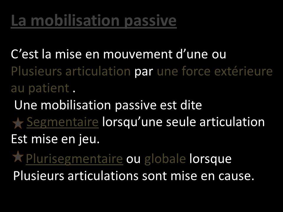 La mobilisation passive Cest la mise en mouvement dune ou Plusieurs articulation par une force extérieure au patient. Une mobilisation passive est dit