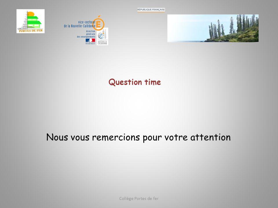 Question time Nous vous remercions pour votre attention Collège Portes de fer