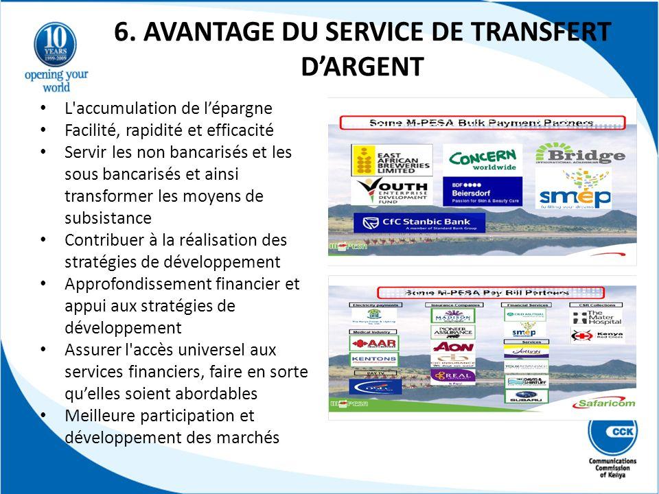 6. AVANTAGE DU SERVICE DE TRANSFERT DARGENT L'accumulation de lépargne Facilité, rapidité et efficacité Servir les non bancarisés et les sous bancaris