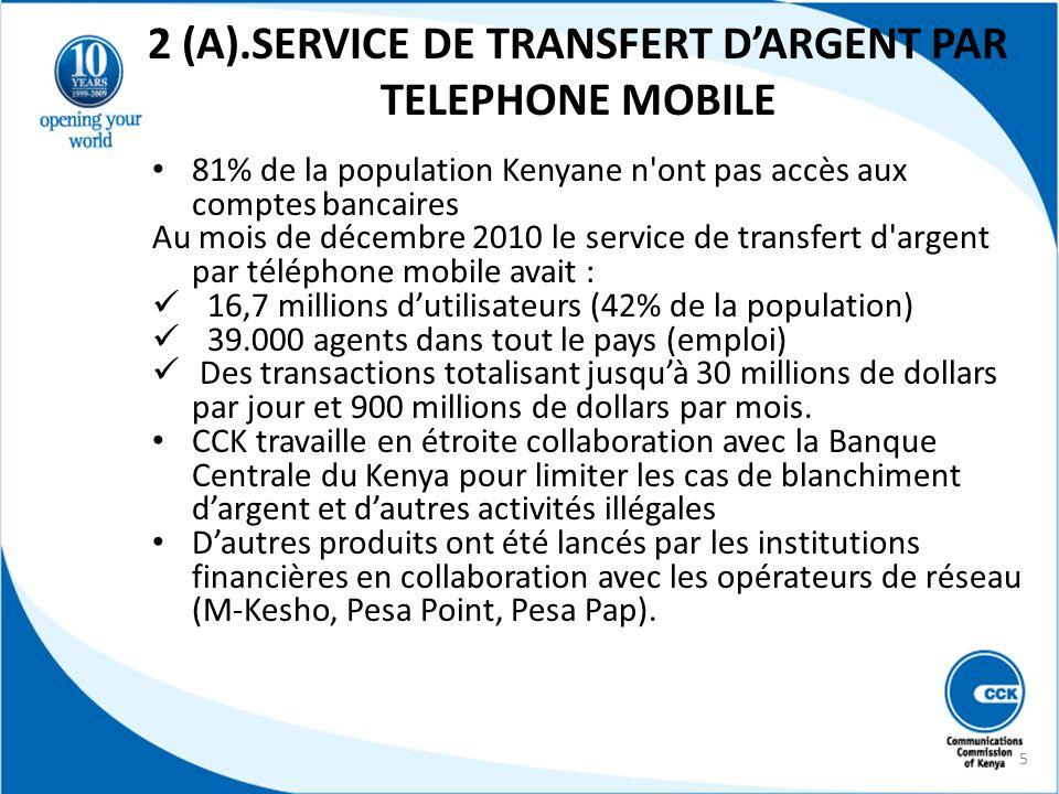 2 (A).SERVICE DE TRANSFERT DARGENT PAR TELEPHONE MOBILE 81% de la population Kenyane n'ont pas accès aux comptes bancaires Au mois de décembre 2010 le