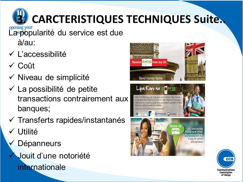 3. CARCTERISTIQUES TECHNIQUES Suite.. La popularité du service est due à/au: Laccessibilité Coût Niveau de simplicité La possibilité de petite transac