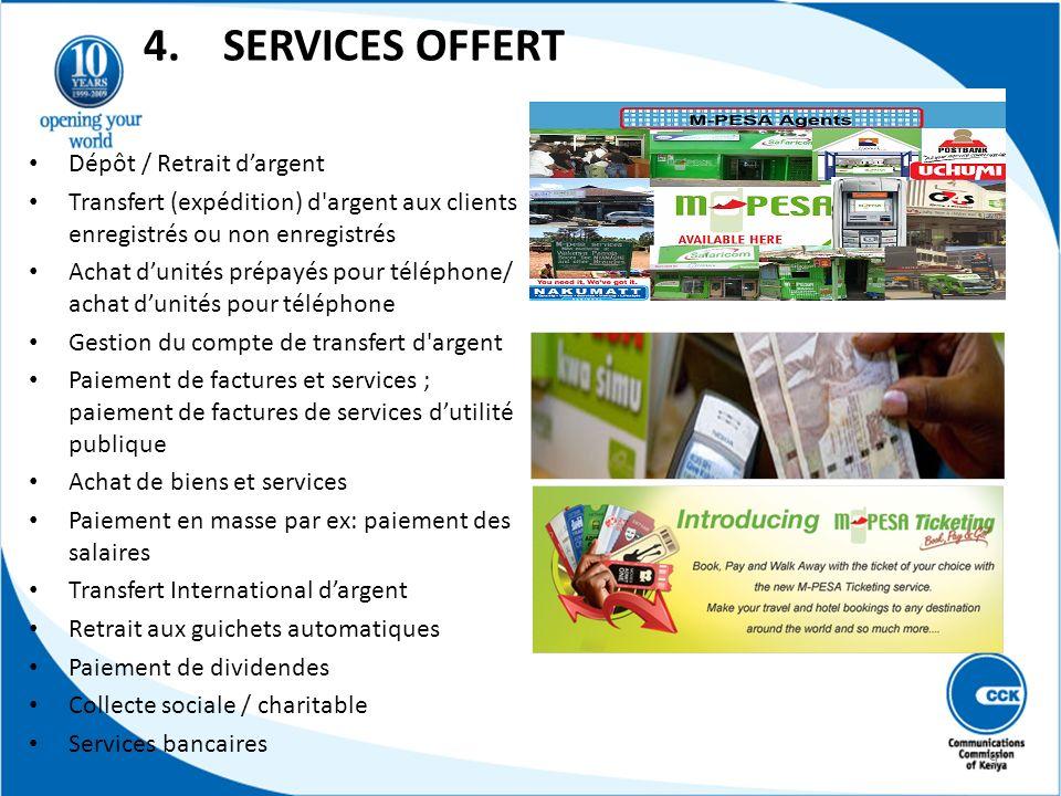 4. SERVICES OFFERT Dépôt / Retrait dargent Transfert (expédition) d'argent aux clients enregistrés ou non enregistrés Achat dunités prépayés pour télé