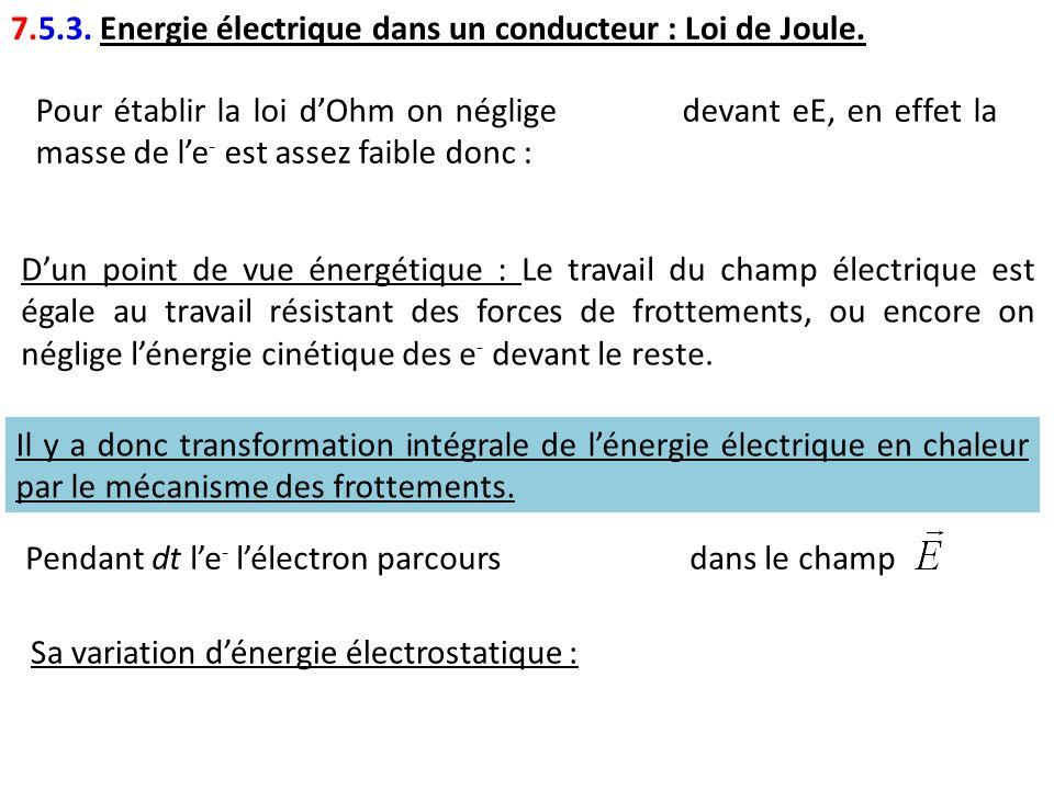Pour établir la loi dOhm on néglige devant eE, en effet la masse de le - est assez faible donc : 7.5.3. Energie électrique dans un conducteur : Loi de