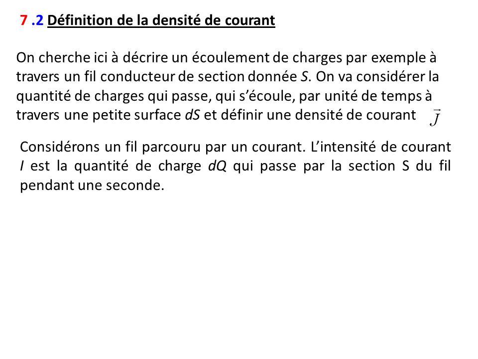 7.2 Définition de la densité de courant On cherche ici à décrire un écoulement de charges par exemple à travers un fil conducteur de section donnée S.