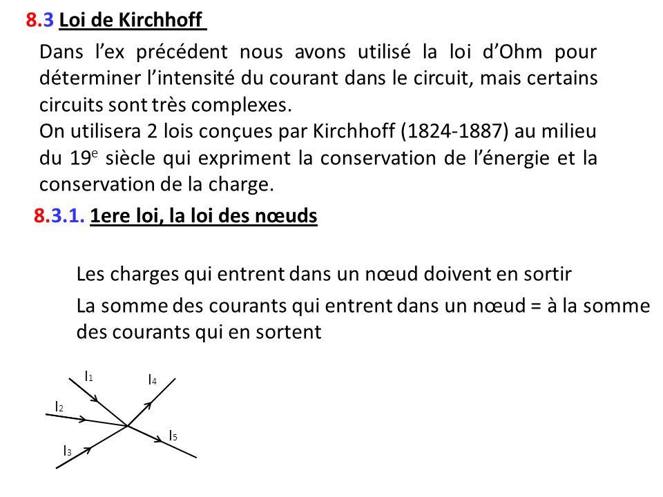 8.3 Loi de Kirchhoff Dans lex précédent nous avons utilisé la loi dOhm pour déterminer lintensité du courant dans le circuit, mais certains circuits s