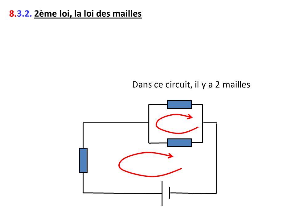 8.3.2. 2ème loi, la loi des mailles Dans ce circuit, il y a 2 mailles
