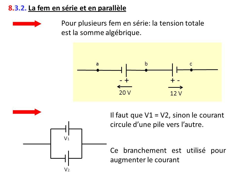 8.3.2. La fem en série et en parallèle Pour plusieurs fem en série: la tension totale est la somme algébrique. abc 12 V 20 V - ++ - V1V1 V2V2 Il faut