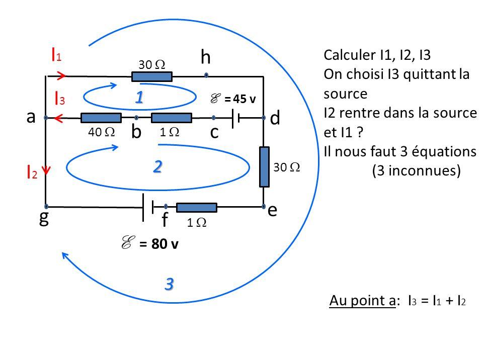 I1I1 30 I2I2 e 40 1 f g d a bc h 1 30 I3I3 E = 80 v 1 2 3 E = 45 v Calculer I1, I2, I3 On choisi I3 quittant la source I2 rentre dans la source et I1