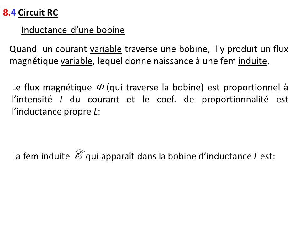 8.4 Circuit RC Inductance dune bobine Quand un courant variable traverse une bobine, il y produit un flux magnétique variable, lequel donne naissance