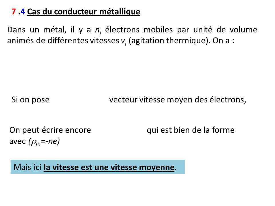 7.4 Cas du conducteur métallique Dans un métal, il y a n i électrons mobiles par unité de volume animés de différentes vitesses v i (agitation thermiq