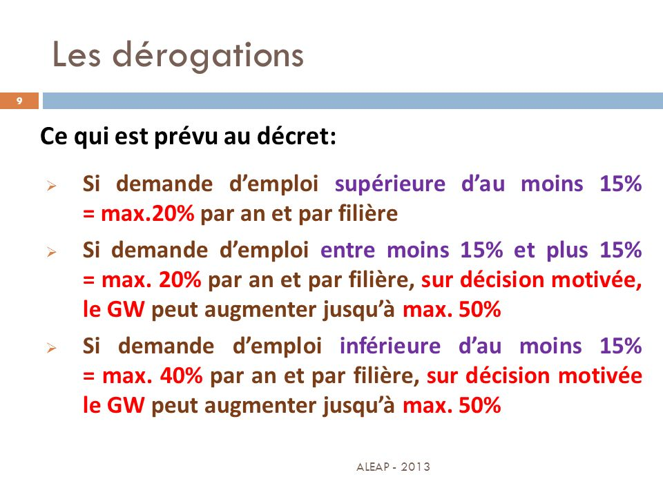 Les dérogations 9 Ce qui est prévu au décret: Si demande demploi supérieure dau moins 15% = max.20% par an et par filière Si demande demploi entre moi