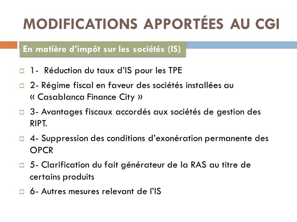 MODIFICATIONS APPORTÉES AU CGI En matière dimpôt sur les sociétés (IS) 1- Réduction du taux dIS pour les TPE 2- Régime fiscal en faveur des sociétés installées au « Casablanca Finance City » 3- Avantages fiscaux accordés aux sociétés de gestion des RIPT.