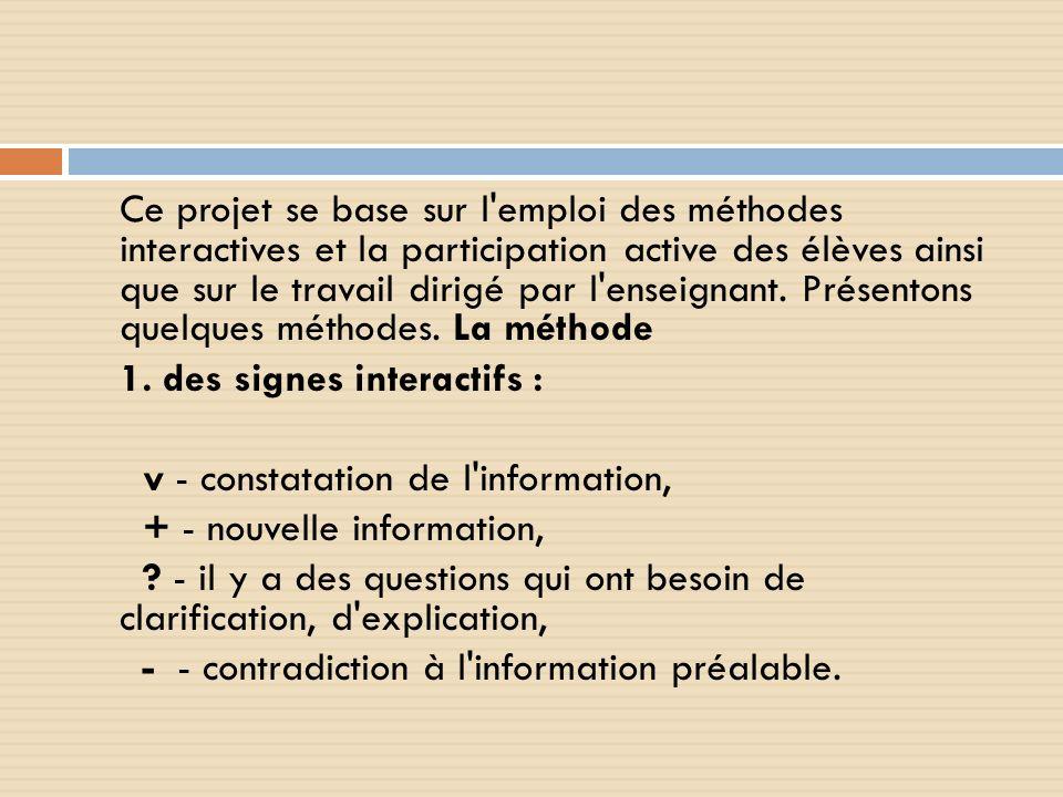 Ce projet se base sur l'emploi des méthodes interactives et la participation active des élèves ainsi que sur le travail dirigé par l'enseignant. Prése