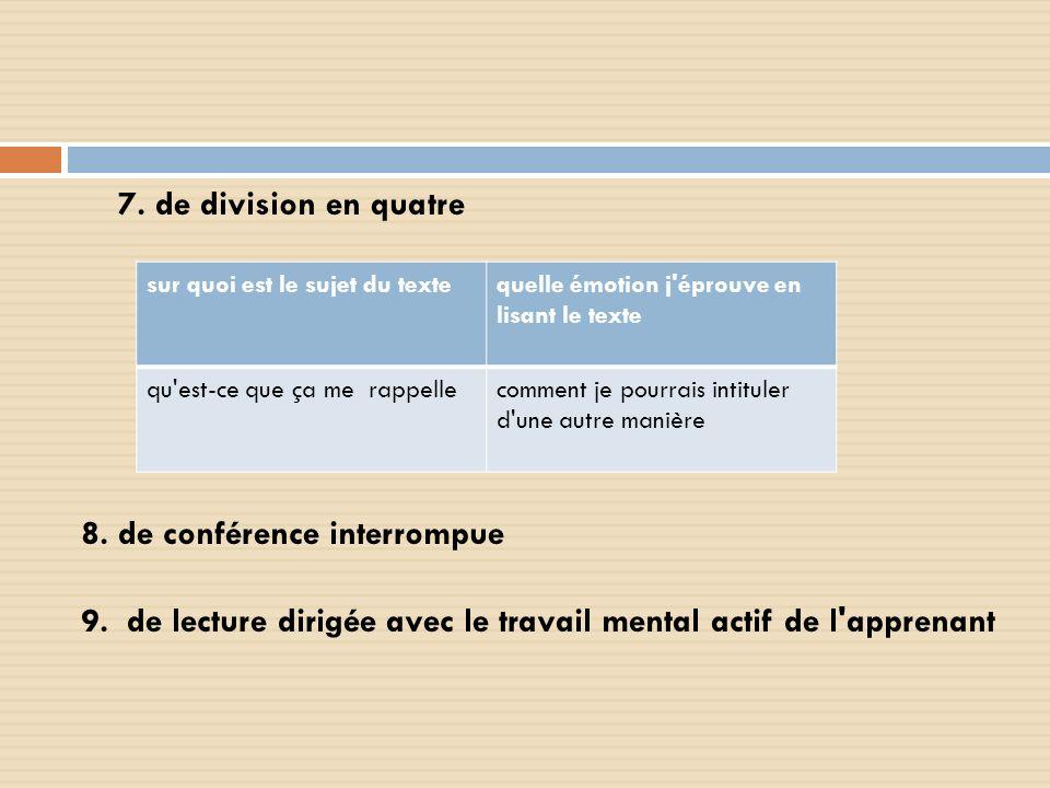 7. de division en quatre 8. de conférence interrompue 9. de lecture dirigée avec le travail mental actif de l'apprenant sur quoi est le sujet du texte