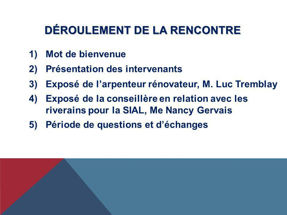 DÉROULEMENT DE LA RENCONTRE 2)Présentation des intervenants 3)Exposé de larpenteur rénovateur, M. Luc Tremblay 4)Exposé de la conseillère en relation