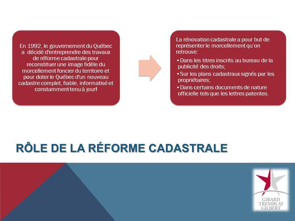 En 1992, le gouvernement du Québec a décidé d'entreprendre des travaux de réforme cadastrale pour reconstituer une image fidèle du morcellement foncie