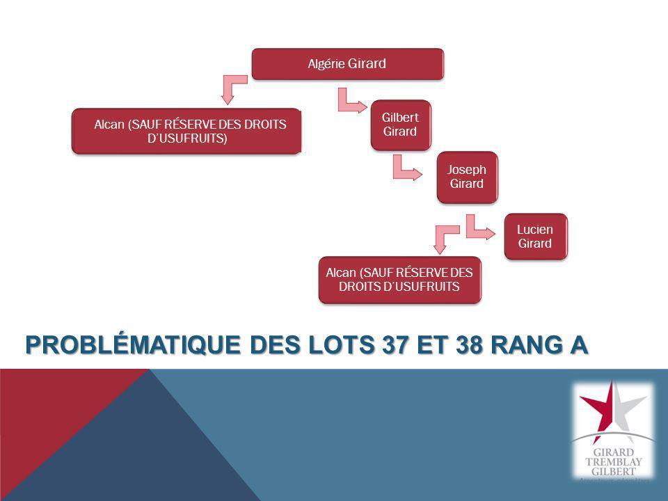 PROBLÉMATIQUE DES LOTS 37 ET 38 RANG A Algérie Girard Alcan (SAUF RÉSERVE DES DROITS DUSUFRUITS) Gilbert Girard Lucien Girard Alcan (SAUF RÉSERVE DES