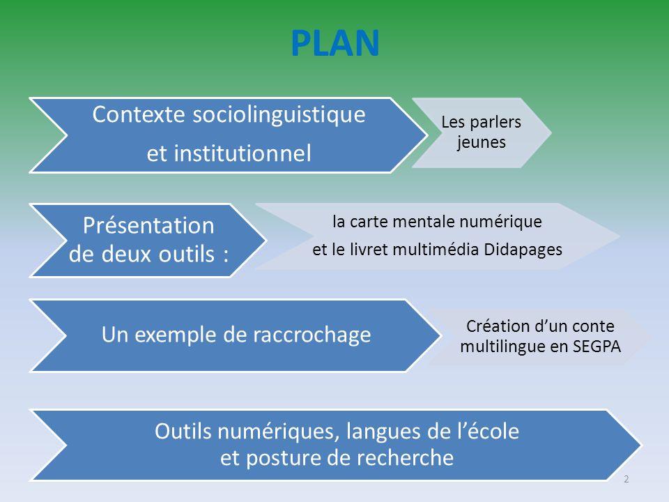 PLAN Contexte sociolinguistique et institutionnel Les parlers jeunes Présentation de deux outils : la carte mentale numérique et le livret multimédia