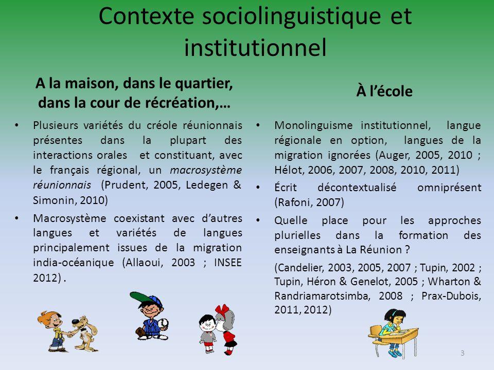Contexte sociolinguistique et institutionnel A la maison, dans le quartier, dans la cour de récréation,… Plusieurs variétés du créole réunionnais prés