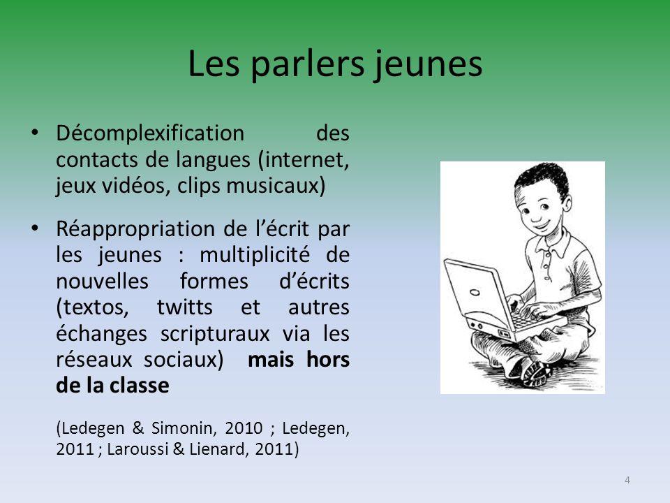 Les parlers jeunes Décomplexification des contacts de langues (internet, jeux vidéos, clips musicaux) Réappropriation de lécrit par les jeunes : multi