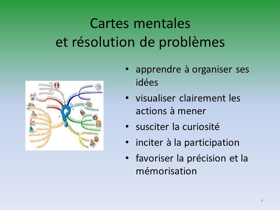 Cartes mentales et résolution de problèmes apprendre à organiser ses idées visualiser clairement les actions à mener susciter la curiosité inciter à l